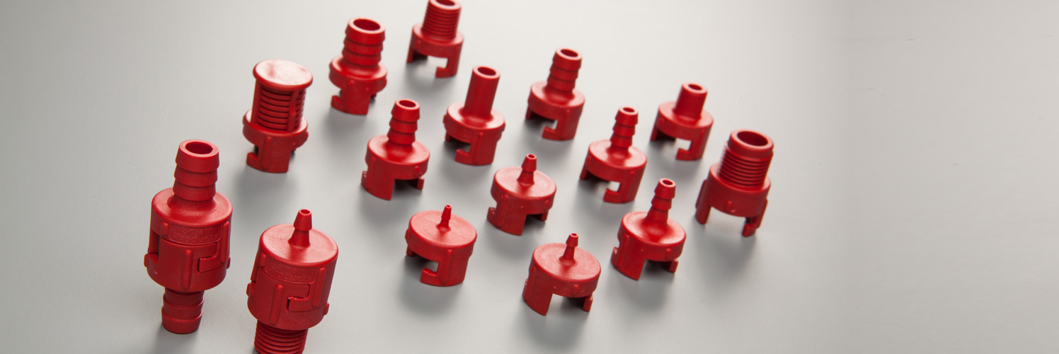 Mix and match end fittings to create a one-way check / pressure relief valve